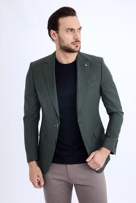 Erkek Giyim - KOYU YESİL 60 Beden Keten Ceket