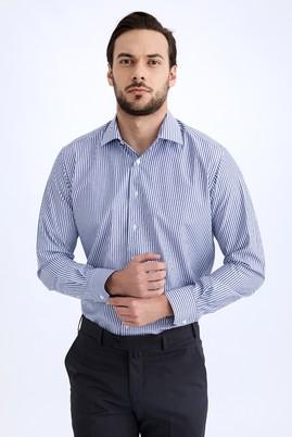 Erkek Giyim - Beyaz XXL Beden Uzun Kol Çizgili Gömlek