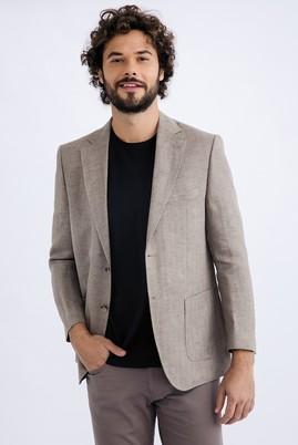Erkek Giyim - Bej 58 Beden İtalyan Ekose Keten Ceket
