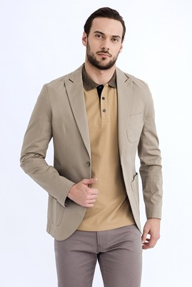 Erkek Giyim - Açık Kahve - Camel 50 Beden Slim Fit Ceket