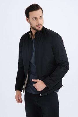Erkek Giyim - Siyah 48 Beden Mevsimlik Dik Yaka Bonded Mont