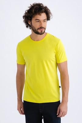 Erkek Giyim - Sarı XL Beden Bisiklet Yaka Slim Fit Tişört