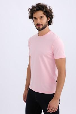 Erkek Giyim - Pembe XL Beden Bisiklet Yaka Slim Fit Tişört
