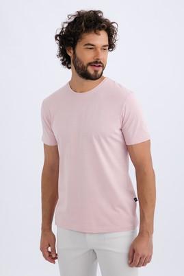 Erkek Giyim - Pembe S Beden Bisiklet Yaka Slim Fit Tişört