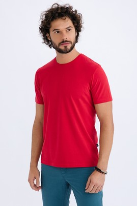 Erkek Giyim - Kırmızı XXL Beden Bisiklet Yaka Slim Fit Tişört