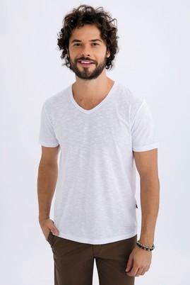 Erkek Giyim - Beyaz XXL Beden V Yaka Slim Fit Tişört