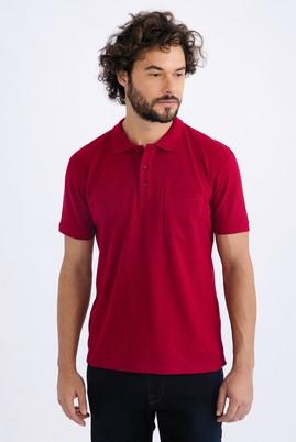 Erkek Giyim - Bordo 3X Beden Regular Fit Polo Yaka Tişört