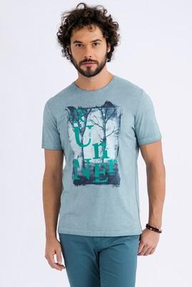 Erkek Giyim - Petrol XXL Beden Bisiklet Yaka Baskılı Regular Fit Tişört