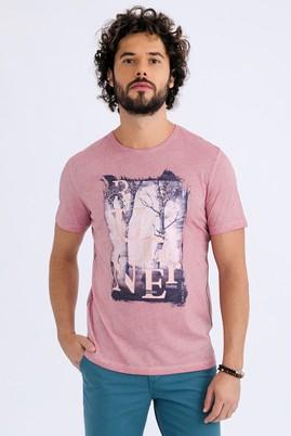 Erkek Giyim - MELON S Beden Bisiklet Yaka Baskılı Regular Fit Tişört
