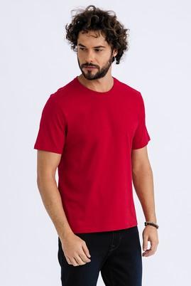 Erkek Giyim - Kırmızı 3X Beden Bisiklet Yaka Regular Fit Tişört