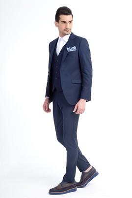 Erkek Giyim - KOYU MAVİ 48 Beden Süper Slim Fit Yelekli Takım Elbise