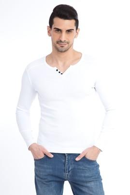 Erkek Giyim - Beyaz S Beden V Yaka Slim Fit Sweatshirt