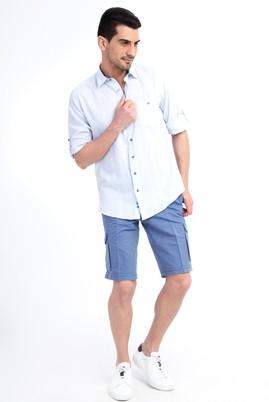 Erkek Giyim - Mavi 46 Beden Slim Fit Spor Bermuda Şort