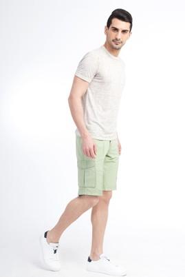 Erkek Giyim - Acık Yesıl 48 Beden Slim Fit Spor Bermuda Şort