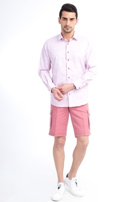 Erkek Giyim - KİREMİT 48 Beden Slim Fit Spor Bermuda Şort