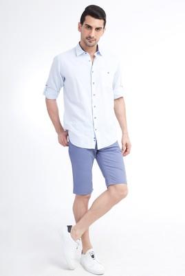 Erkek Giyim - Lila 48 Beden Slim Fit Spor Bermuda Şort