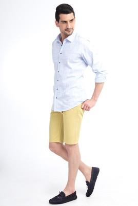 Erkek Giyim - Sarı 46 Beden Slim Fit Spor Bermuda Şort