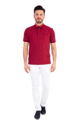 Erkek Giyim - Kırmızı XXL Beden Polo Yaka Desenli Tişört