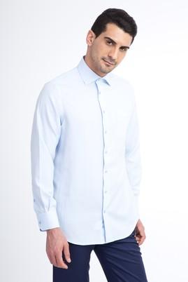 Erkek Giyim - Açık Mavi S Beden Uzun Kol Desenli Klasik Gömlek