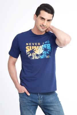 Erkek Giyim - Lacivert L Beden Bisiklet Yaka Baskılı Regular Fit Tişört