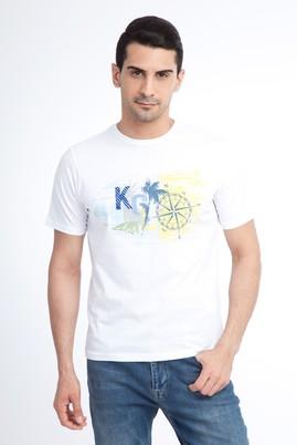 Erkek Giyim - Beyaz L Beden Bisiklet Yaka Baskılı Regular Fit Tişört