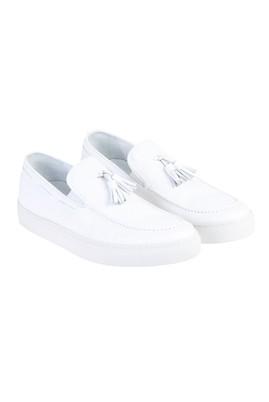 Erkek Giyim - Beyaz 43 Beden Püsküllü Slip On Ayakkabı