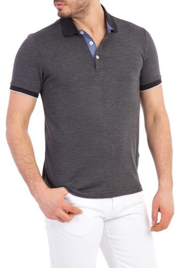 Erkek Giyim - Regular Fit Desenli Polo Yaka Tişört