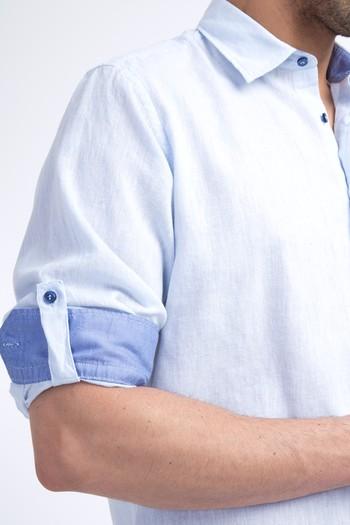 Erkek Giyim - Uzun Kol Keten Gömlek