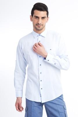 Erkek Giyim - Açık Mavi XL Beden Uzun Kol Keten Gömlek