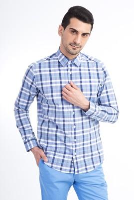 Erkek Giyim - Mavi XL Beden Uzun Kol Ekose Slim Fit Gömlek