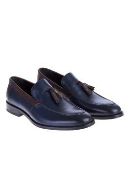 Erkek Giyim - Lacivert 41 Beden Casual Püsküllü Deri Ayakkabı