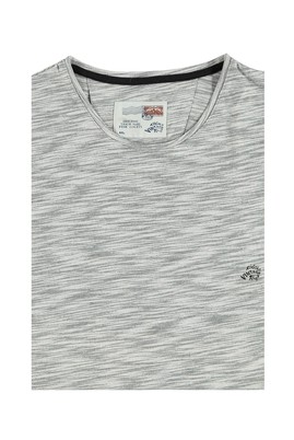 Erkek Giyim - Açık Gri 4X Beden King Size Bisiklet Yaka Desenli Tişört