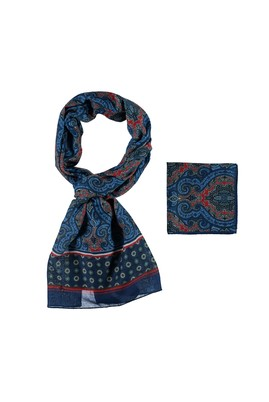 Erkek Giyim - Mavi STD Beden Fular Mendil Set