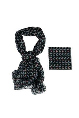 Erkek Giyim - Siyah STD Beden Fular Mendil Set