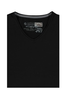 Erkek Giyim - Siyah 4X Beden King Size V Yaka Tişört
