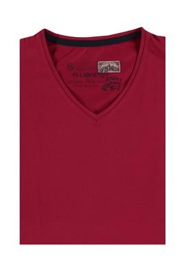 Erkek Giyim - Bordo 4X Beden King Size V Yaka Tişört