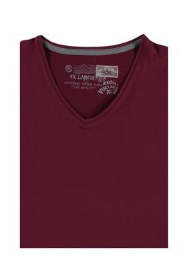 Erkek Giyim - Kırmızı 5X Beden King Size V Yaka Tişört