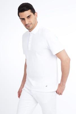 Erkek Giyim - Beyaz 3X Beden Polo Yaka Desenli Tişört