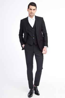 Erkek Giyim - Siyah 48 Beden Süper Slim Fit Yelekli Takım Elbise