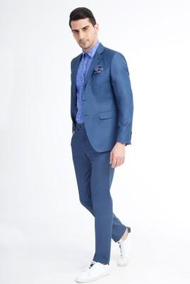 Erkek Giyim - Mavi 48 Beden Slim Fit Kuşgözü Takım Elbise