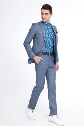 Erkek Giyim - Petrol 58 Beden Kareli Takım Elbise