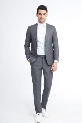 Erkek Giyim - ORTA FÜME 64 Beden Regular Fit Kareli Takım Elbise