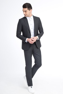 Erkek Giyim - Füme Gri 50 Beden Ekose Takım Elbise