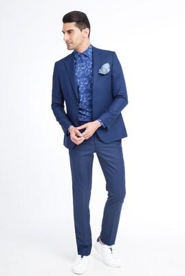 Erkek Giyim - KOYU MAVİ 50 Beden Slim Fit Kareli Takım Elbise