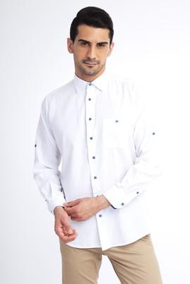 Erkek Giyim - Beyaz XL Beden Uzun Kol Keten Gömlek