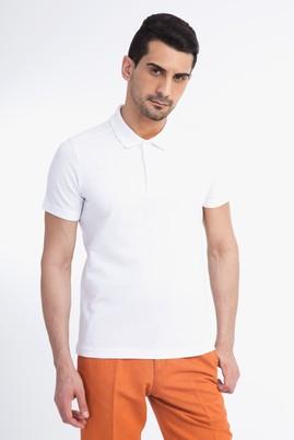 Erkek Giyim - Beyaz S Beden Polo Yaka Slim Fit Tişört