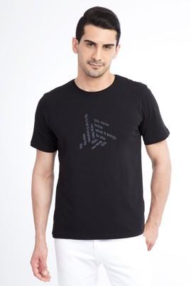 Erkek Giyim - Siyah S Beden Bisiklet Yaka Baskılı Regular Fit Tişört