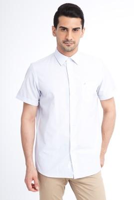 Erkek Giyim - Beyaz 3X Beden Kısa Kol Çizgili Klasik Gömlek