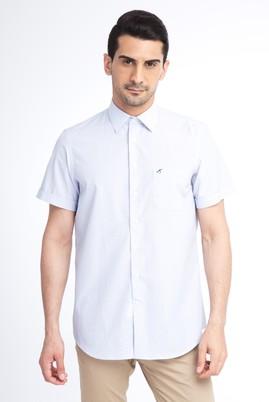 Erkek Giyim - Beyaz L Beden Kısa Kol Çizgili Klasik Gömlek