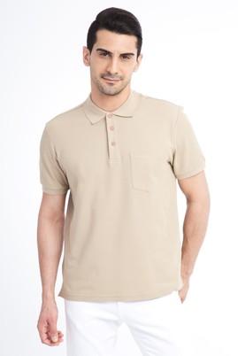 Erkek Giyim - Bej M Beden Regular Fit Polo Yaka Tişört